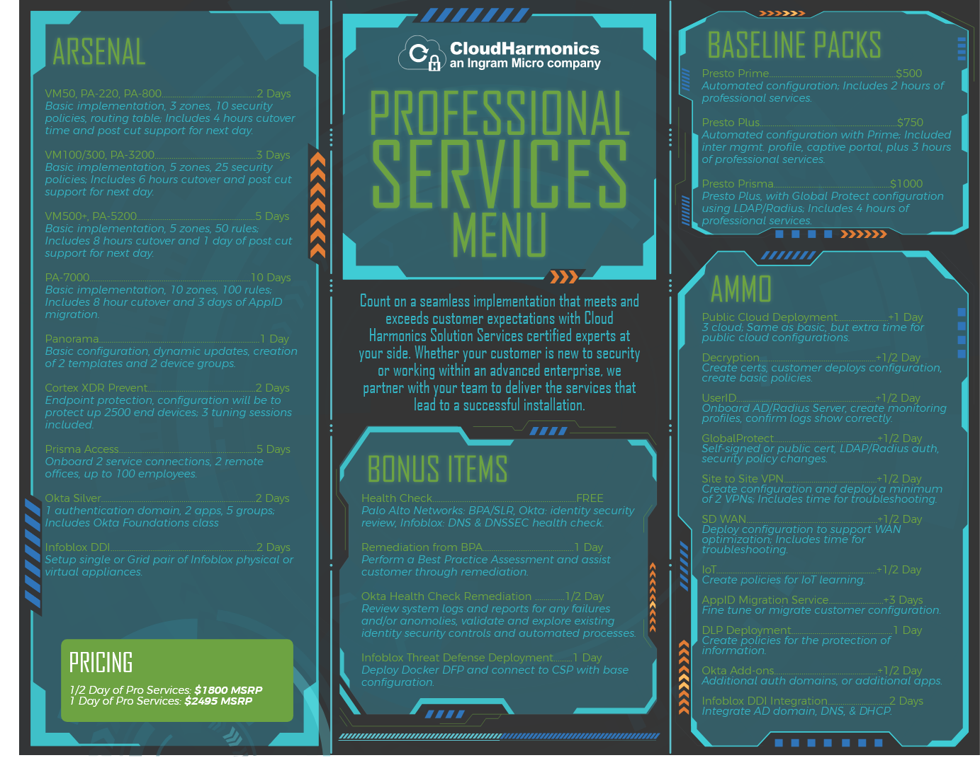 Cloud Harmonics downloadable Professional Services Menu
